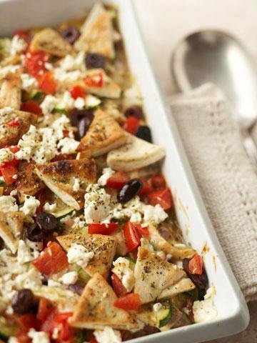 Greek Chicken and Pita Casserole