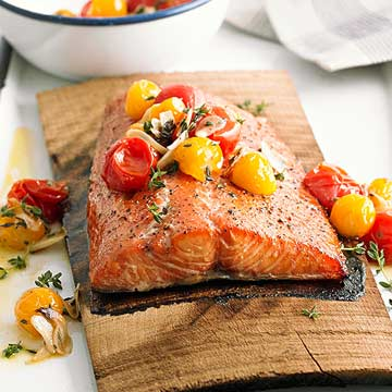 Planked Salmon with Grilled Tomato Salsa