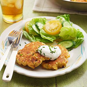 Cornmeal Griddle Cakes with Sauteed Corn