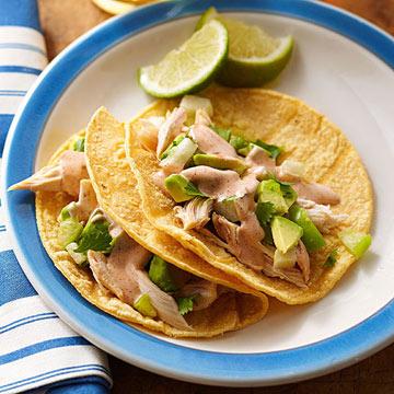 Chicken Tacos with Avocado Salsa and Ranch Taco Sauce