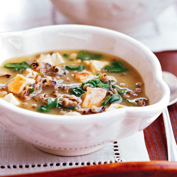 Spinach, Turkey and Wild Rice Soup