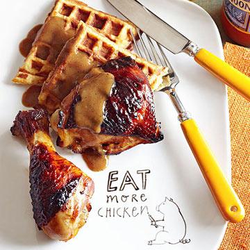 Orange-Maple Roasted Chicken and Mashed Potato Waffles