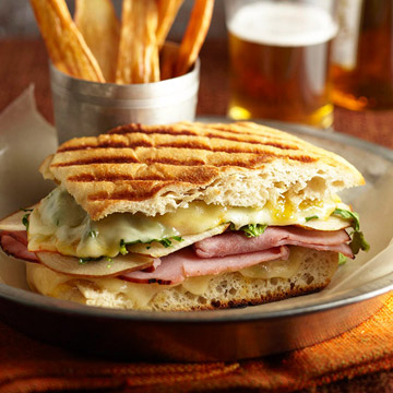 Ultimate Grilled Cheese and Ham Panini with Parsnip Fries
