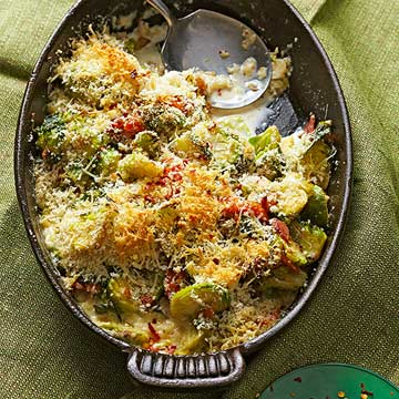 Brussels Sprouts Casserole with Pancetta Asiago Cheese