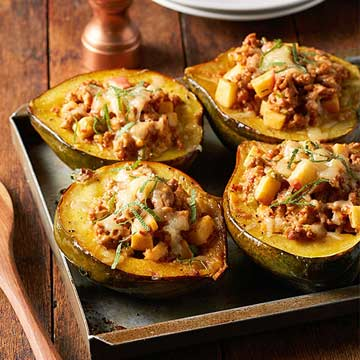 Roasted Acorn Squash with Apple-y Sausage