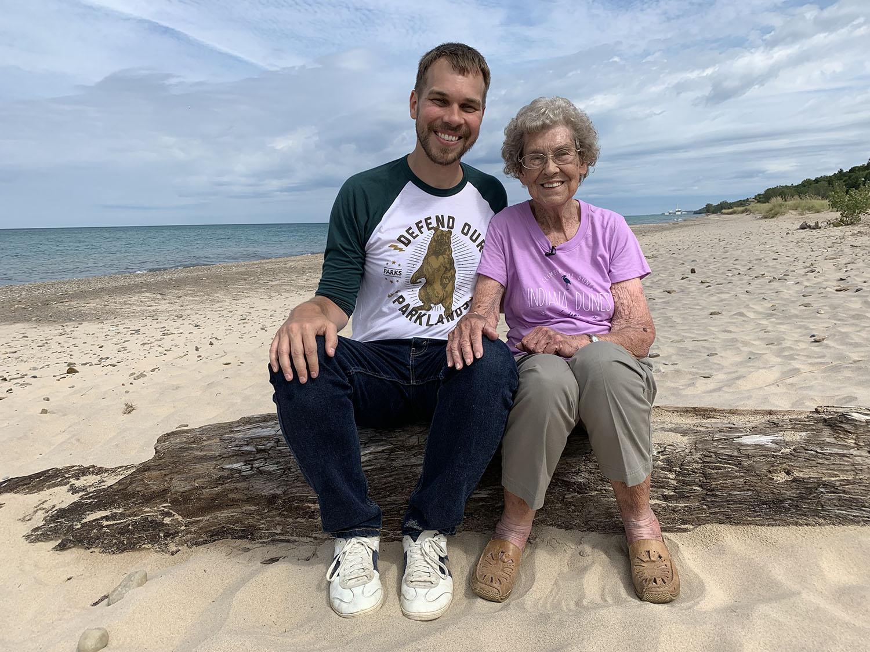 Grandma Joy and Brad at Indiana Dunes