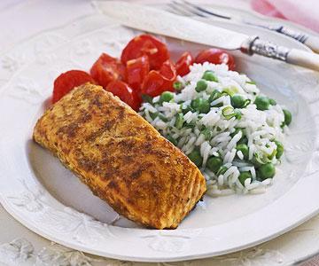 Tandoori Salmon with Raita and Rice Pilaf