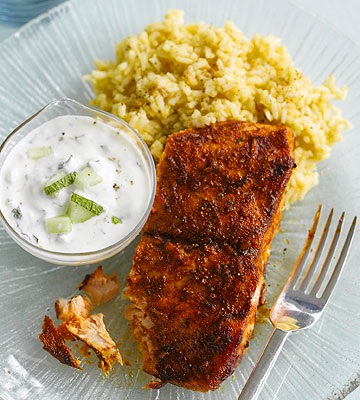 Curried Salmon and Mint Raita