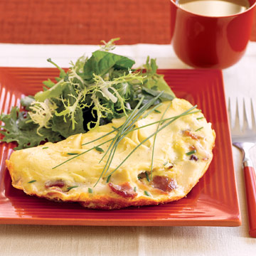Bacon & Goat Cheese Omelet with Salad