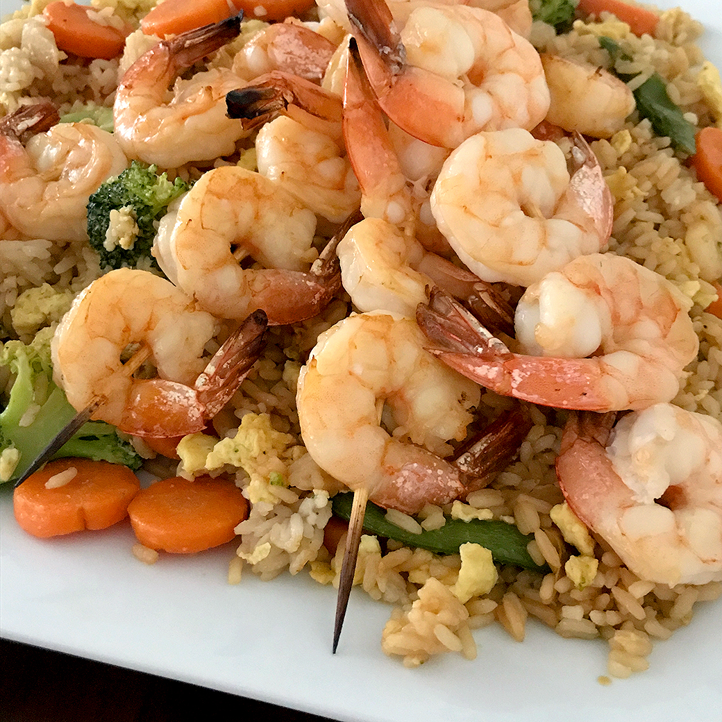 Shrimp Over Fried Rice