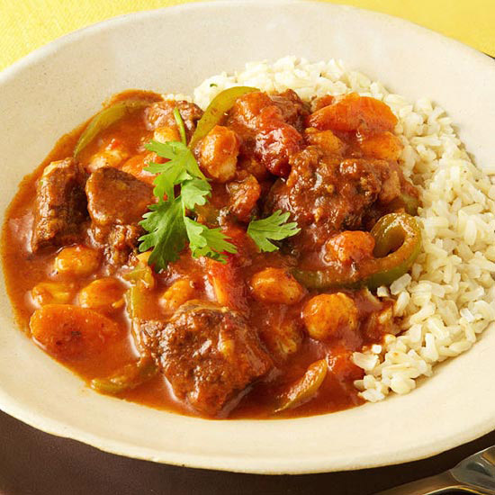 Smoky Beef & Hominy Stew