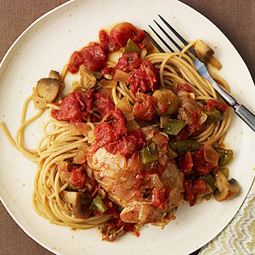 Chicken Cacciatore with Whole-Wheat Spaghetti