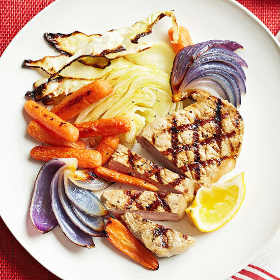 Grilled Pork Medallions with Roasted Cabbage Slaw