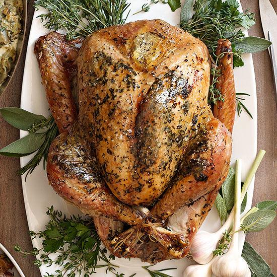 Herb-Roasted Turkey with White Wine Gravy