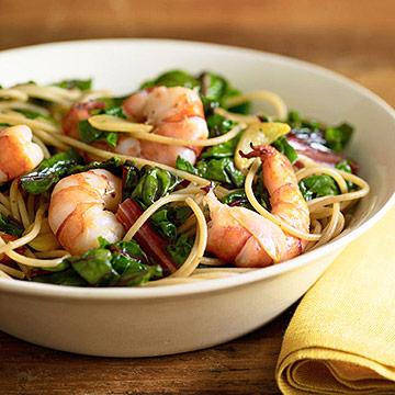 Sauteed Shrimp and Red Chard
