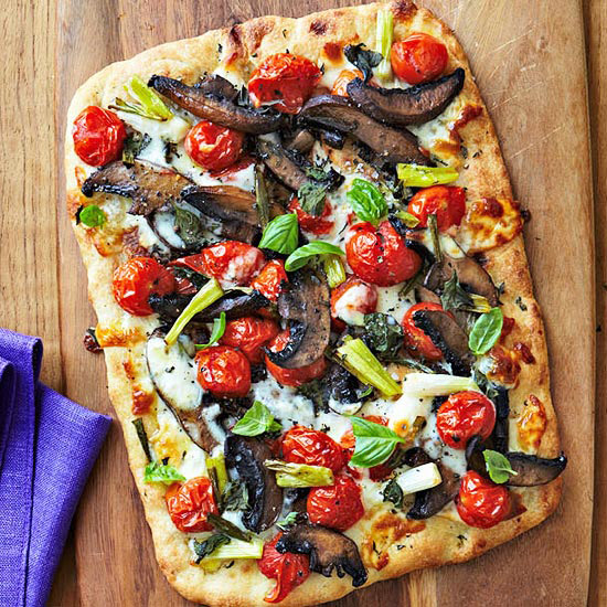 Flatbread Pizza with Roasted Cherry Tomatoes and Portobello Mushrooms