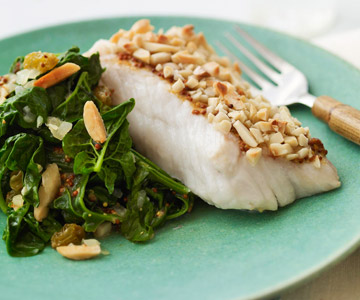 Almond-Crusted Cod with Dijon Spinach
