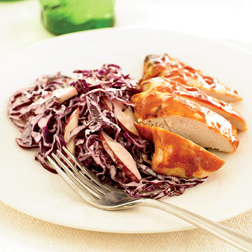 BBQ Chicken with Cabbage & Pear Slaw