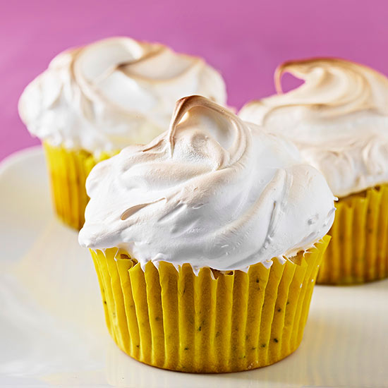 Meringue-Topped Lemon-Poppy Seed Cupcakes