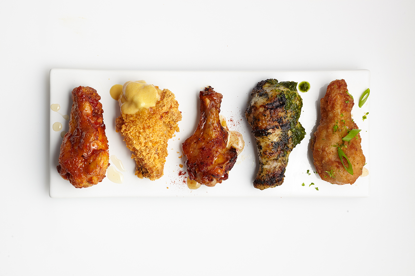 Super Bowl Wings Five Ways: Beer-Battered Thai, Gilled Chimichurri, Smoky Maple, Crunchy Cheddar, Honey-Harissa