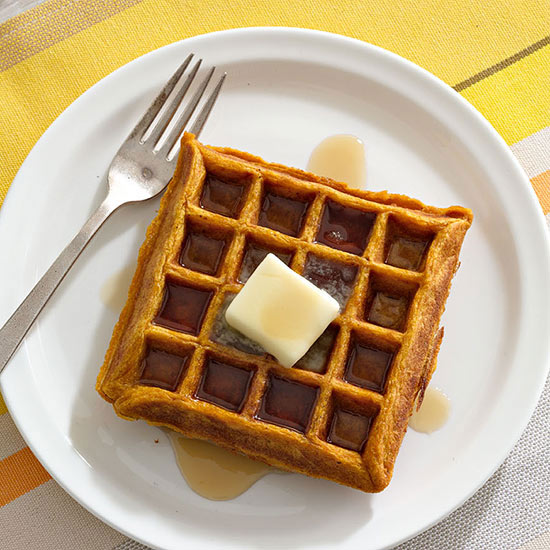 Pumpkin Waffles with Cinnamon Maple Syrup