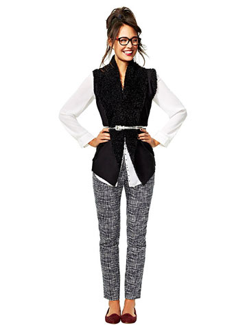 Patterned Pants Look 2: Vested Interest