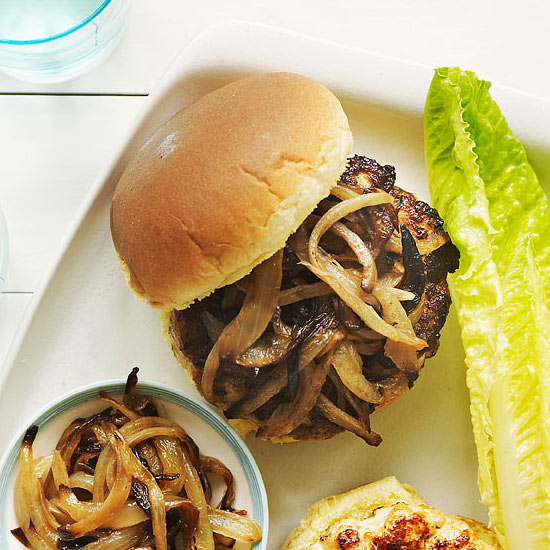 Chicken Burgers with Caramelized Onions