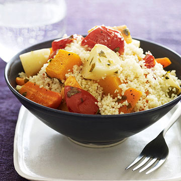 Roasted Lemony Veggies and Couscous