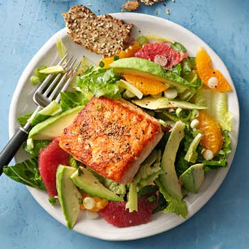 Seared Salmon with Citrus Romaine Salad