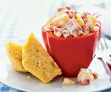 Creamy Ham Salad with Corn Muffins