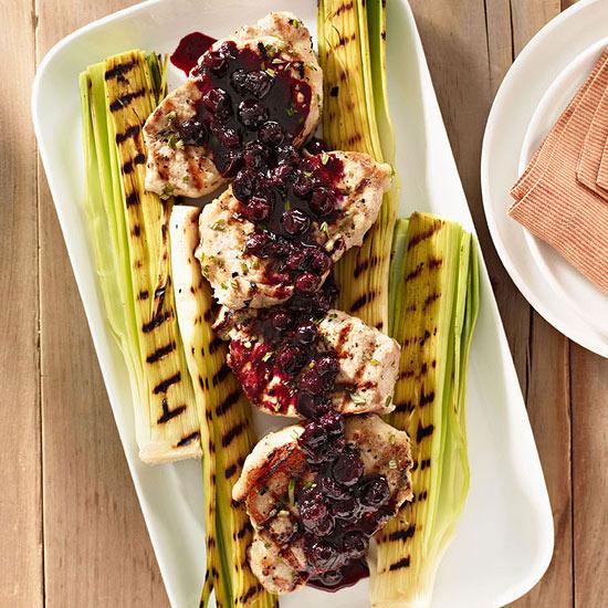 Pork Chops with Bourbon-Blueberry Glaze