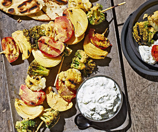 Tandoori Grilled Vegetables with Mint Raita