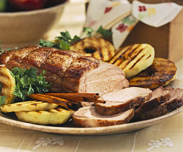 Apple-Marinated Pork Roast With Grilled Apple Rings