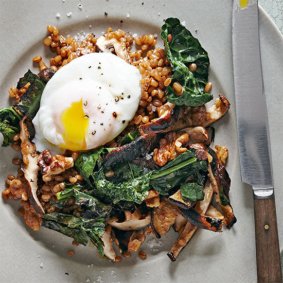 Wheat Berries with Grilled Mushrooms and Kale