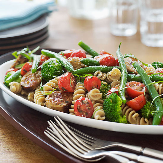 Rotini with Sautéed Chicken Sausage and Vegetables