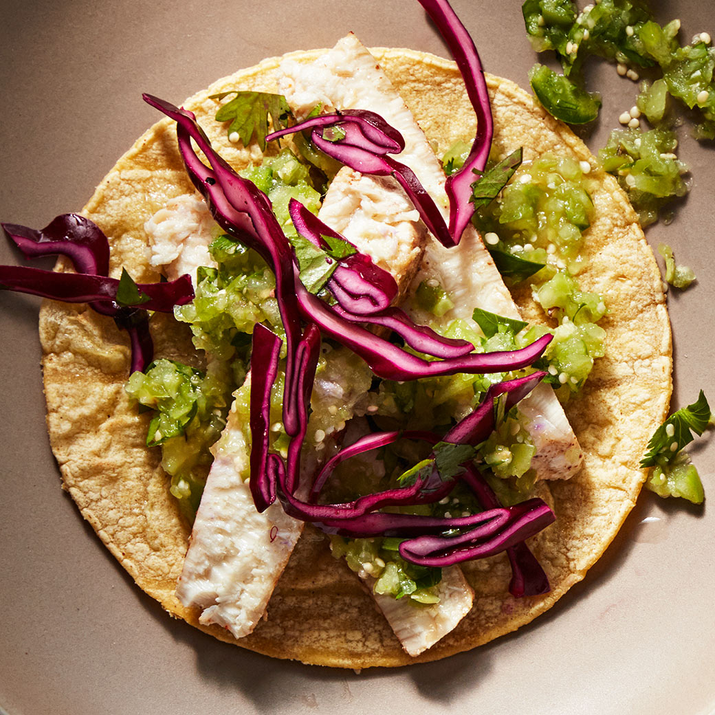 swordfish and slaw tacos on plate