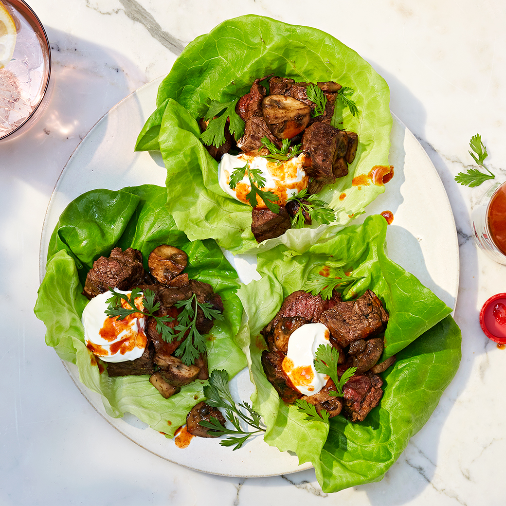 lettuce-leaf tacos with steak and mushrooms