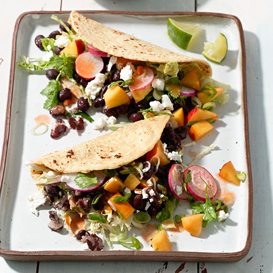 Black Bean Tacos with Spicy Peach Salsa