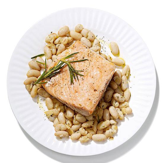 Olive Oil-Poached Salmon with White Beans