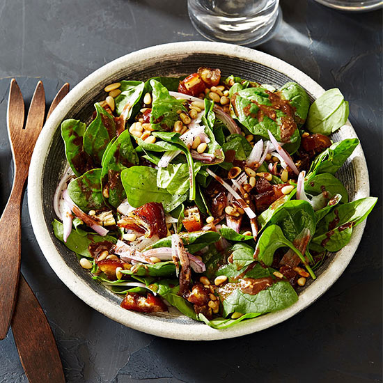 Spinach Salad with Dates and Pine Nuts