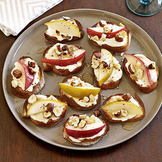 Pear, Goat Cheese and Hazelnut Crostini