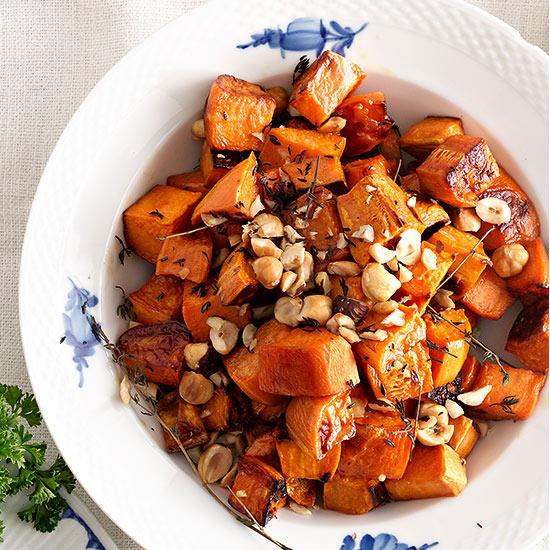 Maple Sweet Potatoes with Toasted Hazelnuts