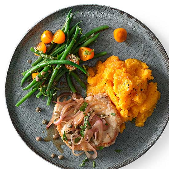 Pork Piccata and Mashed Butternut Squash