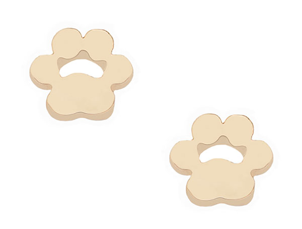 18k Gold Dipped Paw Print Studs