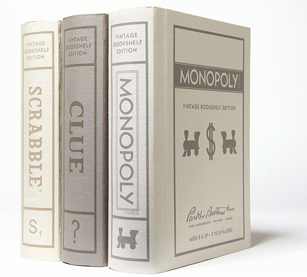 Bookshelf Scrabble, Clue and Monopoly