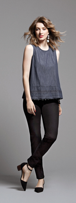 Chambray Shell with Black Skinnies