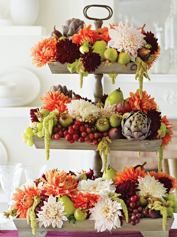 Tiered Tower of Flowers and Produce
