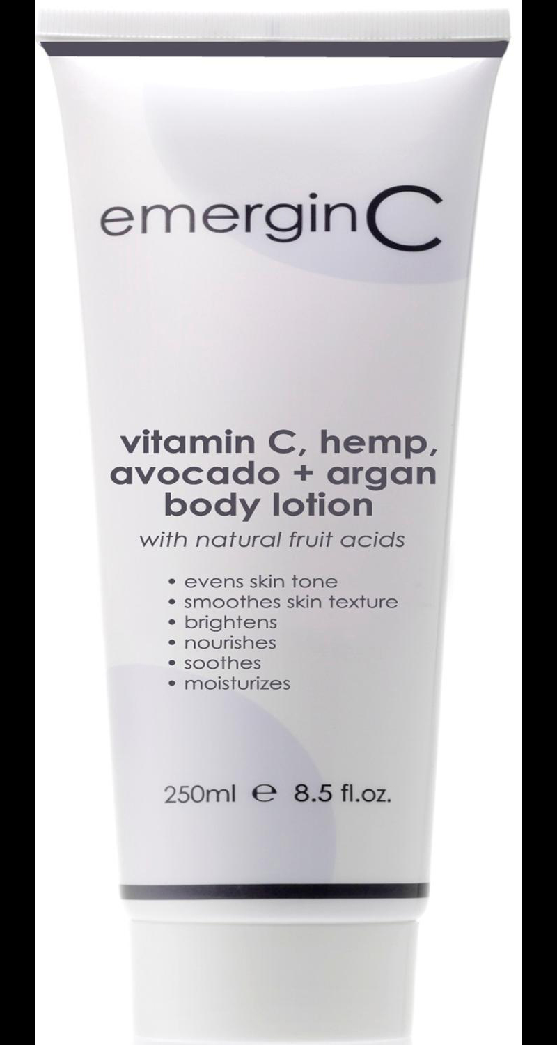 emerginC vitamin C, hemp, avocado + argan body lotion