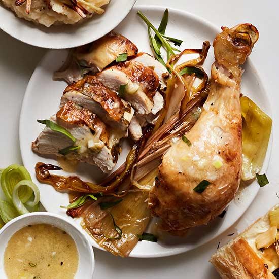 Roasted Chicken with Leek Vinaigrette