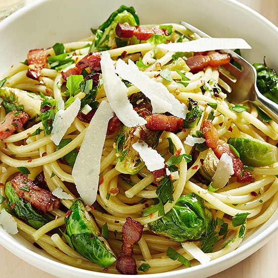 Bucatini with Brussels Sprouts and Bacon